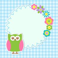 Round frame with cute owl and flowers vector
