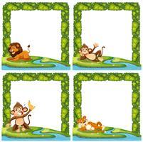 Set van wilde dieren op aard frame