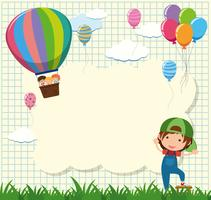 Border template with kids in balloon