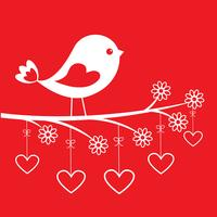 Cute bird - stylish card for Valentine's day