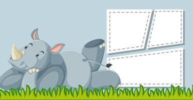 Rhinoceros on note template vector