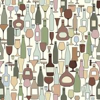Wine bottle and wine glass seamless pattern. Drink wine bar tile