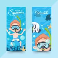 Banner estivi orizzontali con accessori per immersioni