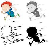Conjunto de niño corriendo vector