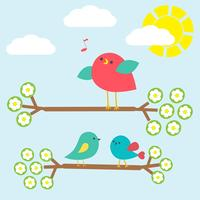 Set of cute birds on springtime branches