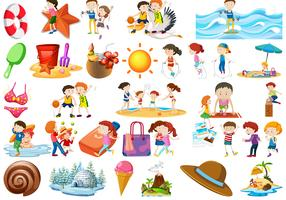 Set of beach element vector