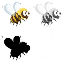 Conjunto de caracteres de abelha vetor