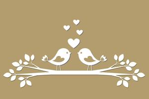 Cute birds with hearts cutting from paper