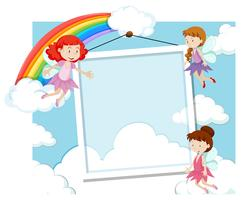 Fairies on the frame template vector
