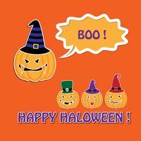 Cartão de dia das bruxas com abóboras em chapéus