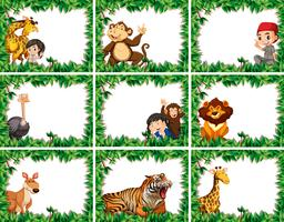Set di animali selvatici sul confine della natura