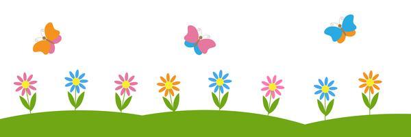 Fond horizontal de vecteur avec des fleurs et des papillons
