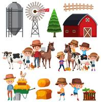 Set of farm landscape vector