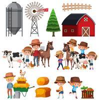 Set of farm landscape