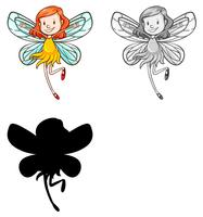 Set of fairy character vector