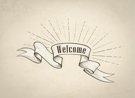 Welcome sign over ribbon, retro background. Vintage doodle banner