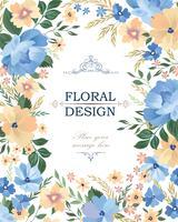 Fondo floral del marco. Tapa del ramo de flores. Saludo florido