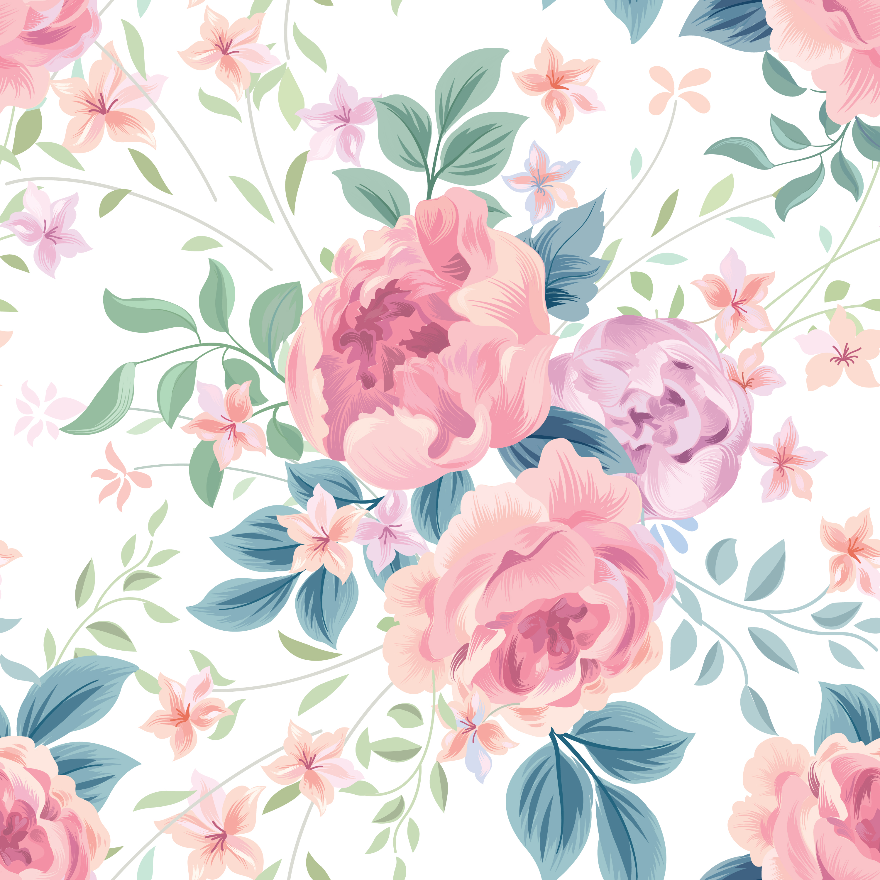 Floral Seamless Pattern Flower Rose White Background Flourish
