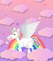 Unicornio lindo y fondo del arco iris