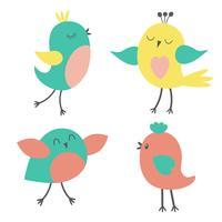 Reihe von bunten niedlichen Vögeln
