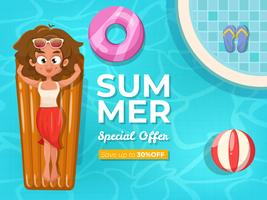 Summer sale background with swimming pool