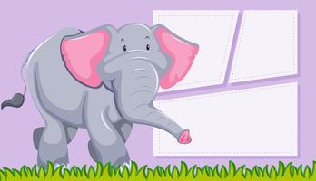 Gullig elefant på anteckningsmall