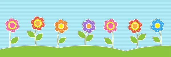 Vektorhorizontaler Hintergrund mit netten Blumen