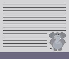 An elephant on note template