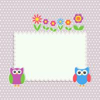 Frame with cute owls and flowers vector