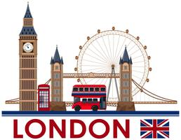 Londoner Wahrzeichen auf weißem Hintergrund