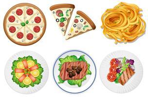 Conjunto de comida no fundo branco