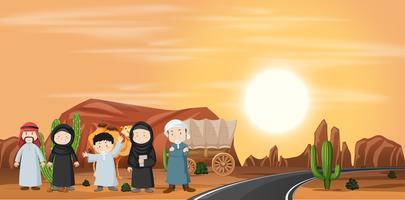 Conjunto de paisagem do deserto
