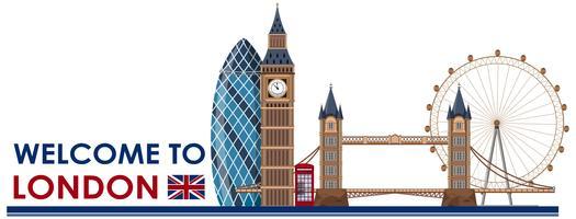 Punto di riferimento di Londra su sfondo bianco