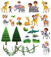 Conjunto de animales salvajes y niños.