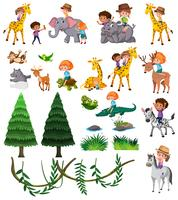 Set van wilde dieren en kinderen