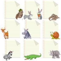 Conjunto de animal no modelo de nota