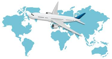 Ein Flugzeug, das über Weltkarte fliegt
