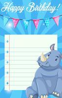 Neushoorn op notitie sjabloon