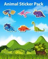 Conjunto de caracteres de dinosaurio.