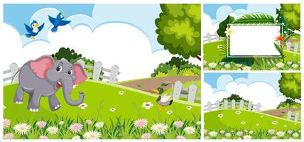 Set of nature landscape vector