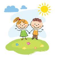 Niños felices en un día de verano