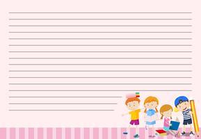Niños en plantilla de nota en blanco vector