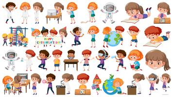 Set of learning kids vector