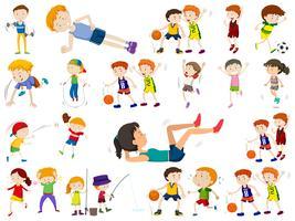 Conjunto de niños deporte