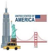En uppsättning av USA landmärke