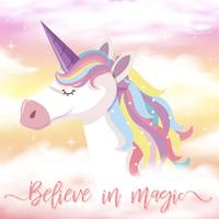 Cute Unicorn and Rainbow Background vector