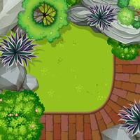 Een luchtfoto van de tuin