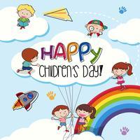 Modello di giorno di bambini felici