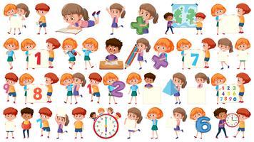Set of math kids vector