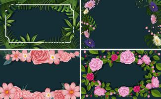 A Set of Flower Leaf Border